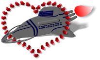 spaceship and hearts