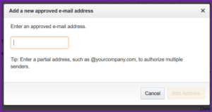 Screenshot of a dialog box in which to enter an approved email address