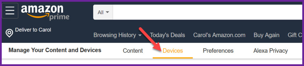 Amazon's page for managing content, with an arrow pointing to Devices