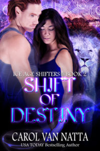 Cover of Shift of Destiny, a paranormal romance featuring a prehistoric American lion