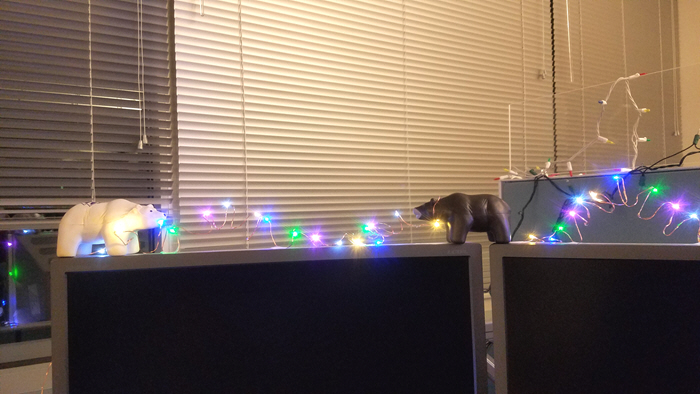 Geeky Fairy Light Addiction - toy bears getting tangled up with fairy lights