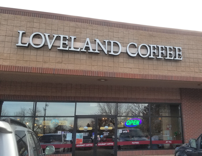 places I write - photo of front door of Loveland Coffee