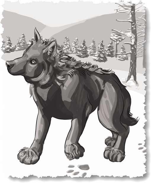 More ice age fauna illustrations - dire wolf illustration