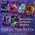 The Central Galactic Concordance series book covers, and the words is space opera, adventure, and romance