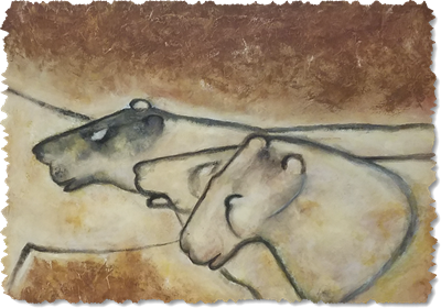 Painting of prehistoric cave art depicting cats