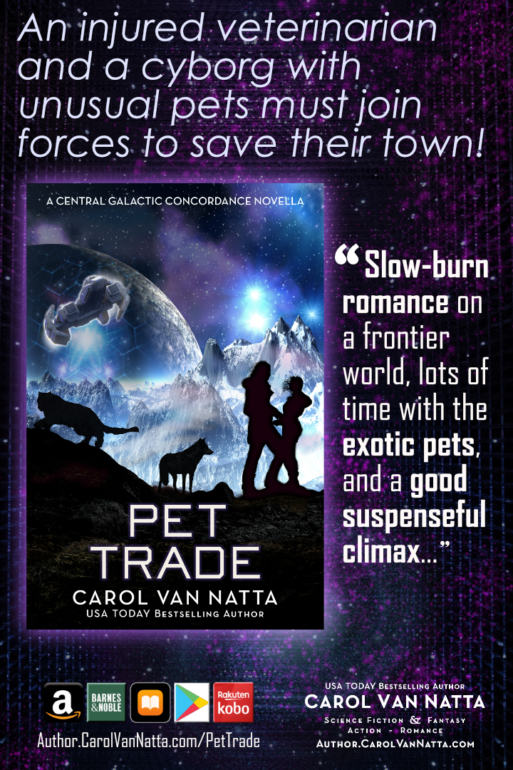 Pet Trade is science fiction romance, plus pets on a distant planet
