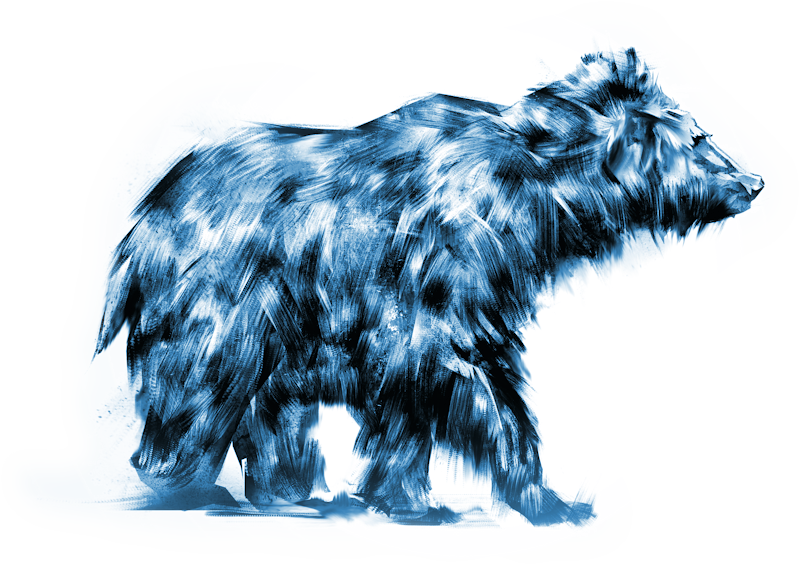 illustration of a shaggy bear - prehistoric bears might have looked like this