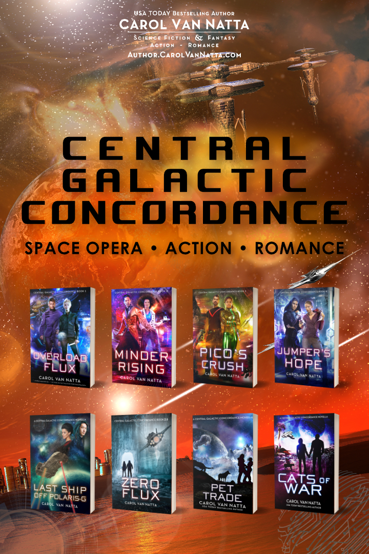 Space opera, action, and romance in the Central Galactic Concordance series