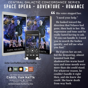 The cover image and a quote from Overload Flux, a space opera romance