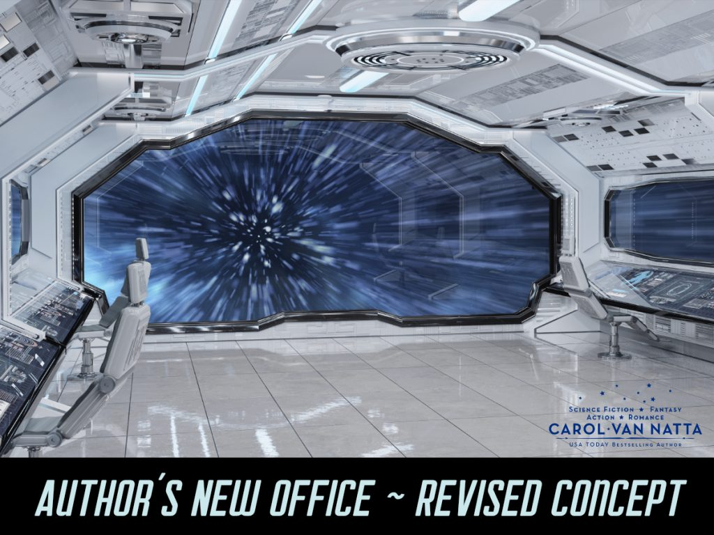 Photo of a starship interior with the caption Author's New Office - Revised Concept