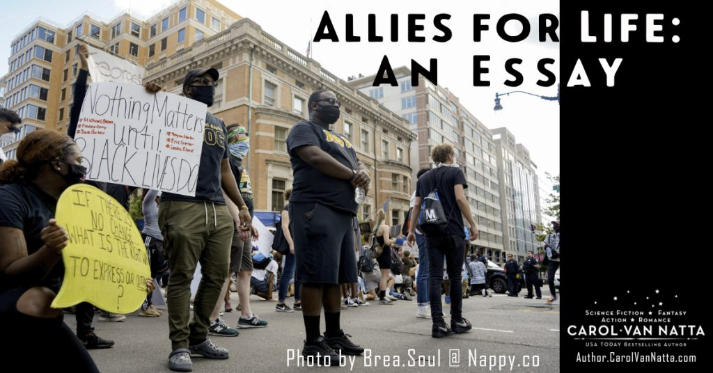 Photo of protesters on the street. Words over the photo say Allies for Life: An Essay