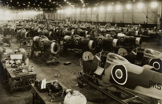 Vintage photo of English Spitfire planes being built