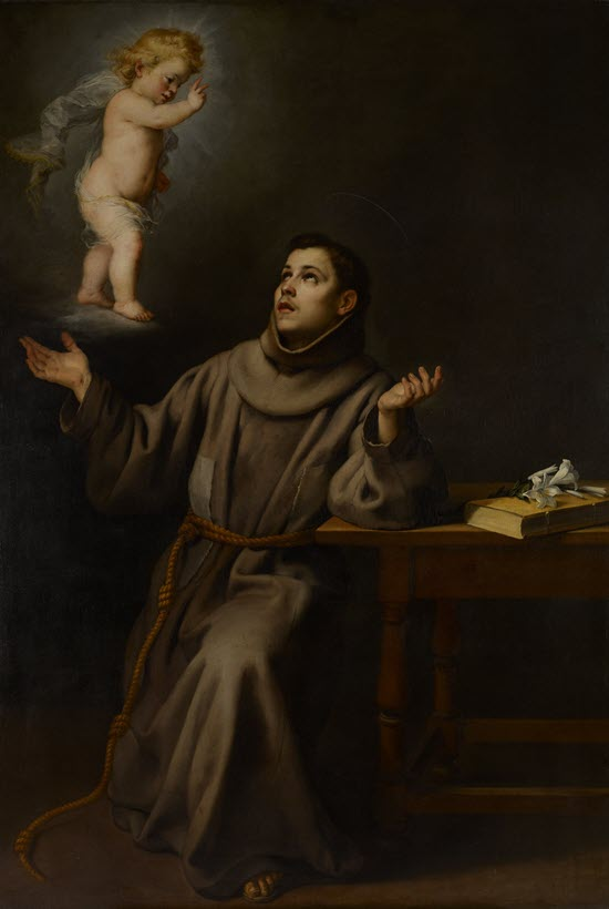 Monk in a brown robe, beholding a cherub flying above him