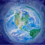 Watercolor painting of an earth-like planet