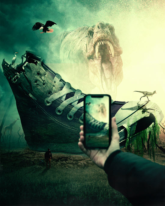 Hand holding a smart phone taking a photo of a giant athletic shoe and a tyrannosaurus rex in the background