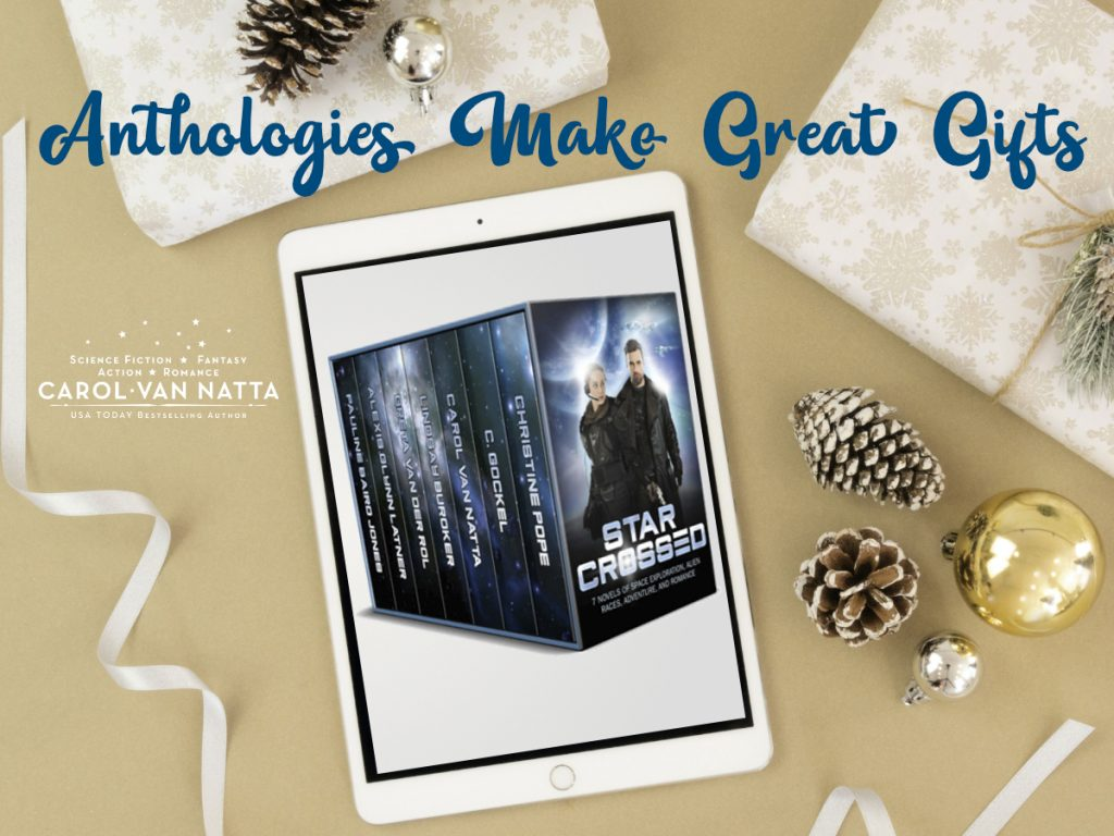 Photo of an e reader with an anthology box set and the title Anthologies Make Great Gifts