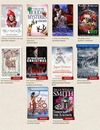 Covers of 10 stories in the Good Holiday Cheer anthology that makes a great gift
