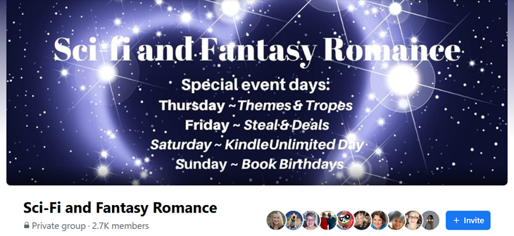 Find 3 favorite themes in the Science Fiction and Fantasy Romance group on Facebook