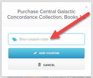 The popup window for entering the coupon code to apply to a purchase