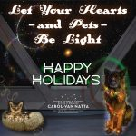 Let your hearts -- and pets -- be light. Happy Holidays! Photos of a dog and a cat wearing holiday lights.