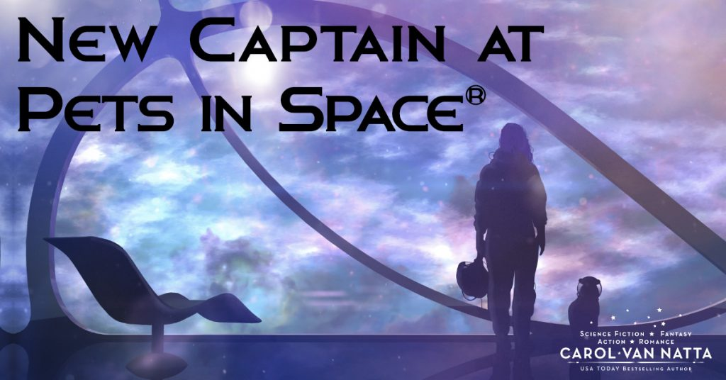 New Captain at Pets in Space - illustration of a woman and a cat standing in a space station