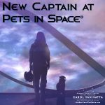 New Captain at Pets in Space - Illustration of a woman and a cat standing in a spaceport