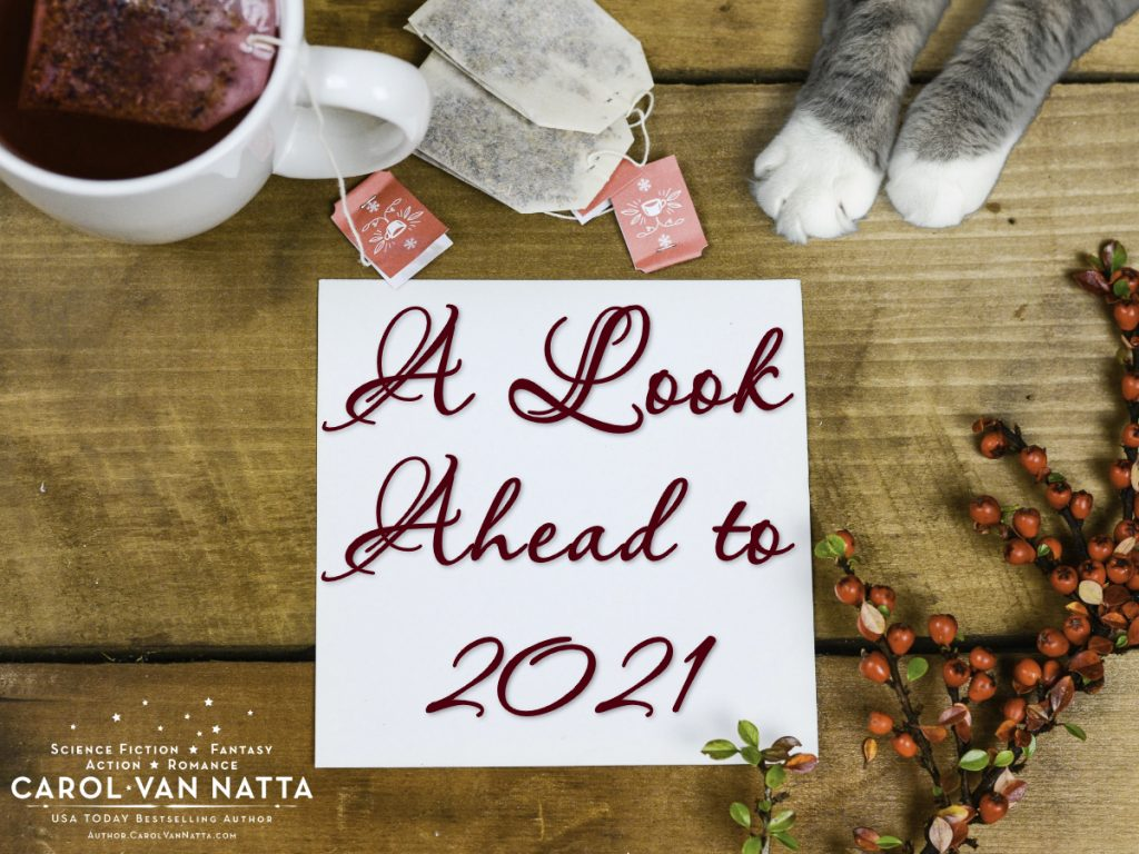 Note that says A Look Ahead to 2021, plus images of a tea cup and cat paws