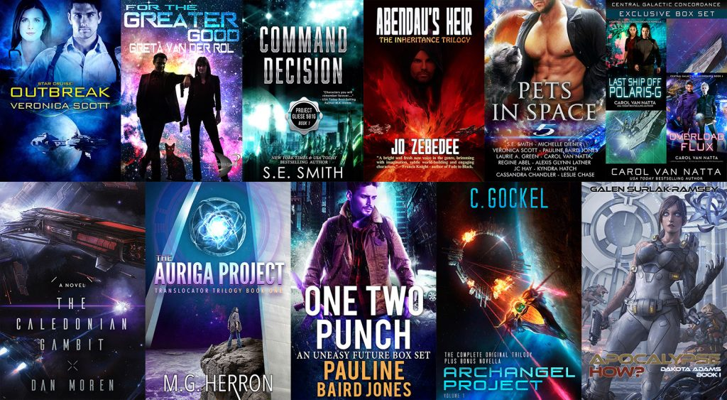 All the book covers in the 11-book premium hot deal for sci-fi books