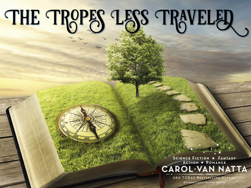 The Tropes Less Traveled - illustration of a book, a compass, and a path toward a tree
