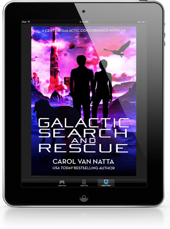 Photo of the cover of Galactic Search and Rescue displayed on an ereader