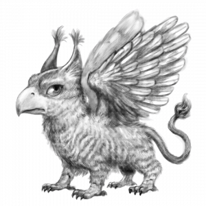 Illustration of a griffin from Escape from Nova Nine, the author's Pets in Space story