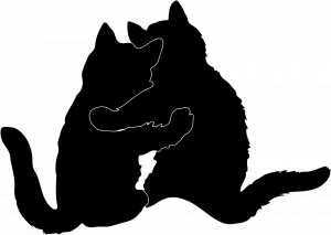 Silhouette of two cats embracing